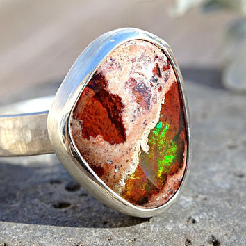 raw fire opal ring, silver ring opal, raw opal ring for men, mexican fire opal ring, opal engagement ring, mens opal ring october birthstone