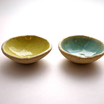 Set of 2 Turquoise and Yellow ring Dishes ,Ceramic Bowl,Jewelry Dish ,Jewelry Holder ,Candle Holder ,Ceramic plate,
