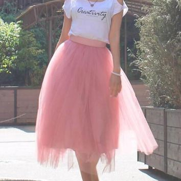 New Pink Grenadine Pleated High Waisted Tulle Tutu Homecoming Party Elegant Midi Skirt