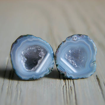 Raw Geode Earrings, Rough Crystal Post Earrings, Valentines Day for Her, Trending on Etsy, Birthday Gift for Women, Wifes Anniversary