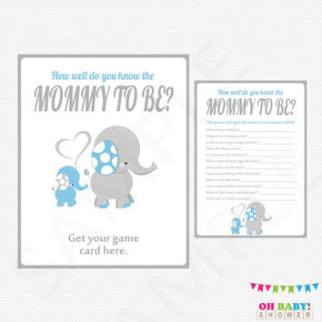 Blue Elephant Baby Shower, How well do you know the MOMMY to be, Blue Gray, Instant Download, Boy Baby Shower Games, Printable Games, ELLBG