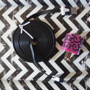 New Super Cute Pink & Black Scroll Design Wall iphone 5/5s Charger + 10ft Black cable cord Super Long