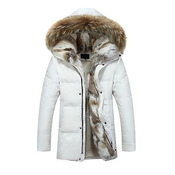 High quality new arrival men's warm winter outwear real  fur collar hooded down jackets thicken fleece lined coats