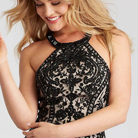 Short Lace Racerback Homecoming Dress