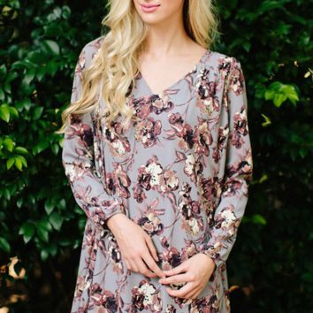 Dreaming In Sepia Grey Print Dress