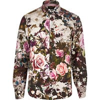 River Island MensPurple floral chambray long sleeve shirt