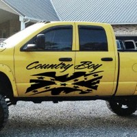 Country Boy Confederation Rebel Flag Truck Car Vinyl Graphics SUV Will Fit Any Car Tr015