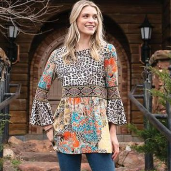 Embroidered patchwork tunic with flared sleeves