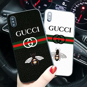 """Hot Sale 2018 """"GUCCI"""" Small Bee Letter Print Trending Women Men iPhone Phone Cover Case For iphone X iphone 6 6s 6plus 6s-plus 7 7plus 8 8plus"""