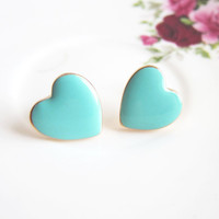 Turquoise Heart Earrings Stud Blue Mint Aqua Heart Earrings Wedding Bridesmaids Gift Bridal Jewelry