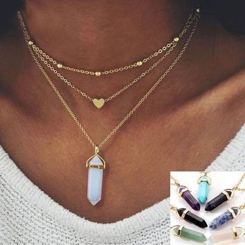 DCCKU7Q Bohemia Hexagonal Column Crystal Opal Nature Stone Gold Necklace