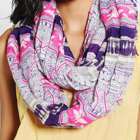Embroidered Patchwork Eternity Scarf