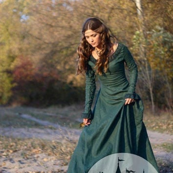 Medieval Renaissance Flax Linen Dress Autumn Princess by armstreet