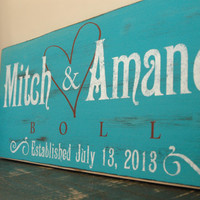 Personalized Family Established Signs  Hand Painted Rustic Family Name Sign  Turquoise Wedding Sign 18x7