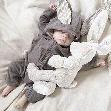 Spring Autumn Newborn Baby Clothes Bunny Baby Rompers Cotton Hoodie Newborn Girl Onesuits Fashion Infant Costume Boys Outfits