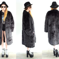 Vintage 80s FAUX FUR Oversized Black Maxi Coat Jacket // Bohemian Gypsy Hippie Grunge Hipster // Small / Medium / Large