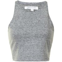 Grey Marl Textured Cropped Vest Top