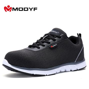Modyf New Men Safety Shoes Flyknit Steel Toe Work Shoes Lightweight Breathable Casual Footwear