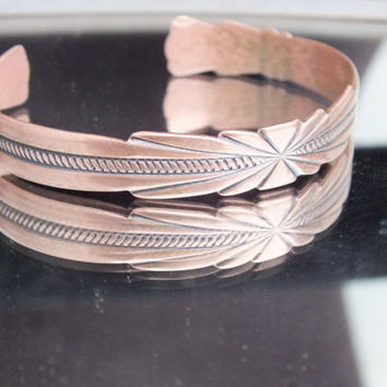 Copper Cuff Bracelet with Native American Designs, Aztec Indian Southwestern Themed Design, Tribal Theme Jewelry Bracelet, Free Shipping