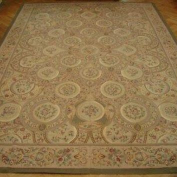 10x14 Aubusson wool Complex Composition Handmade Beige Flat Weave new rug