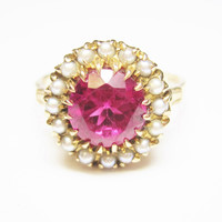 Antique 10K Yellow Gold Ruby Seed Pearl Ring Size 8