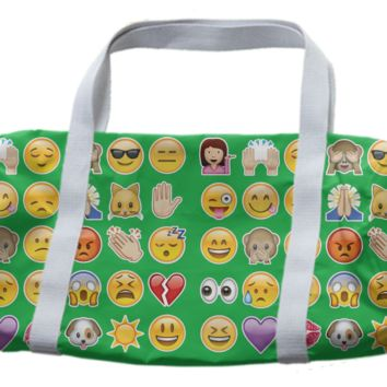 green emoji duffle bag created by GossipRag | Print All Over Me