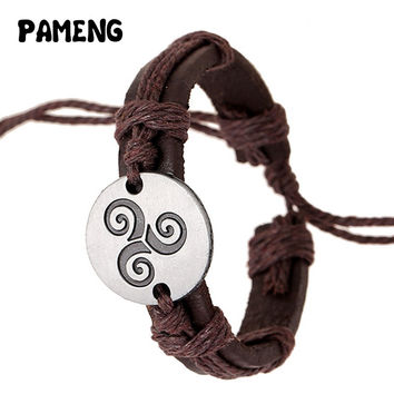 Pameng Teen Wolf Triskele Bracelets Hemp Rope Adjustable Leather Strap Charm Jewelry Unisex
