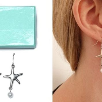 The Sea Starfish Chandelier Pearl Drop Earrings | Perfect Gifts