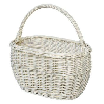 White Wicker Market Basket, Wide Shopping Bag, Woven Portable Basket, French Basket, Throw Basket, FREE SHIPPING