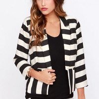 Under the Big Top Black and Ivory Striped Blazer
