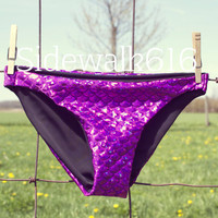 Purple Mermaid Bikini Bottoms Shiny Fish Scale