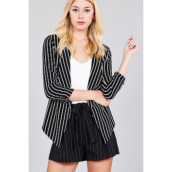 Shirring Sleeve Open Front W/label Striped Jacket (a)