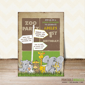 Safari birthday party invitation zoo themed Personalized Printable African invite card elephant giraffe yellow green brown kids girls boys