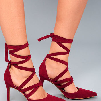 Kennedy Burgundy Suede Lace-Up Heels