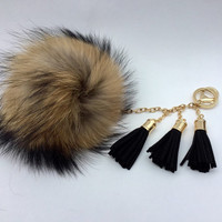 Ultimate beauty Raccoon Fur Pom Pom luxury bag totem pendant charm with 3 tassels gold hardware no dye