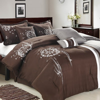 8pc Luxury Bedding Set- ABQ. Brown/Grey