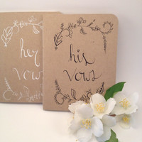Wedding Vow Book - His and Hers - Woodland Wedding Decor - Vow books - Wedding vows - Gift for Engagement Party - Bride to be Gift