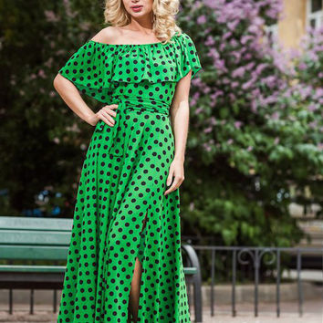 "Green Polka dot  Maxi Dress ""HotSummer"" Designer summer dress, long dress, green dress, polka dot,  plus size maxi, summer,  off shoulder"