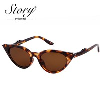 STORY 2018 Sexy Small Leopard Cateye Sunglasses Women Vintage Black White Fashion Cateye Sun Glasses For Female Eyewear Shades