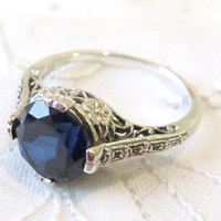 Sapphire Solitaire Engagement Ring Sterling Silver/ Antique Vintage Art Deco Floral Engraving Filigree Gemstone