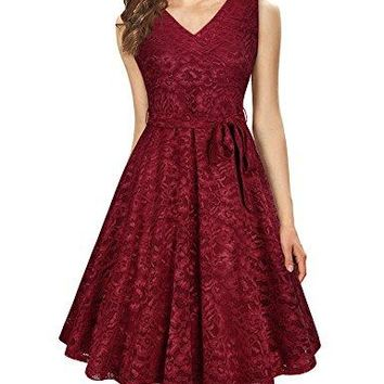 Women's Elegant A Line V Neck Floral Sleeveless Knee Length Swing Lace Dress