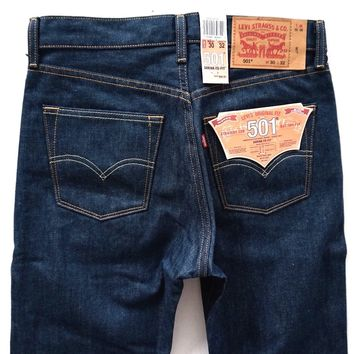 Levi's Levis Nwt Mens 501 Shrink to Fit Blue Finn 5 Pocket Jeans MANY SIZES!!