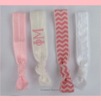 PHI MU Sorority Elastic Hair Ties - No Bump, Yoga Hair Ties, Light Blue and Pink Cheron, Hair Bands, Can choose colors
