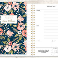 2016 planner | 2016-2017 calendar | custom weekly student planner | personalized planner agenda daytimer | pink gold navy floral pattern