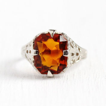 Vintage Citrine Ring - 10k White Gold Filigree Genuine Orange Gem - Antique Size 4 3/4 Art Deco 1920s November Birthstone 20s Fine Jewelry