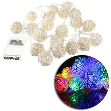 20 LED Rattan Ball String Light Home Garden Fairy Lamp Wedding Xmas Christmas Holiday Party Decoration DIY
