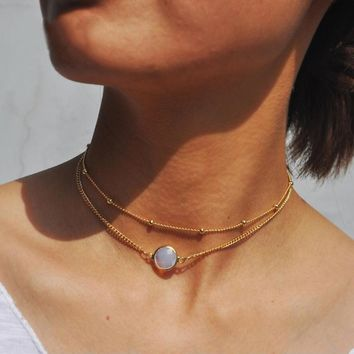 STYLEDOME natural crystal 2 layer choker necklace