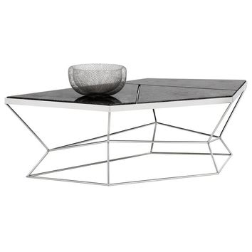 NATHAN STAINLESS STEEL BASE MARBLE VENEER TOP COFFEE TABLE