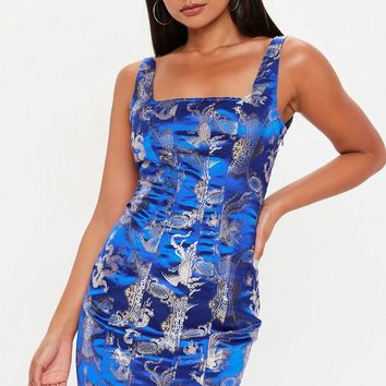 Missguided - Blue Oriental Jacquard Dress
