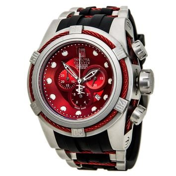 Invicta 14430 Men's Jason Taylor Reserve Red Dial Black Rubber Strap Chronograph Dive Watch